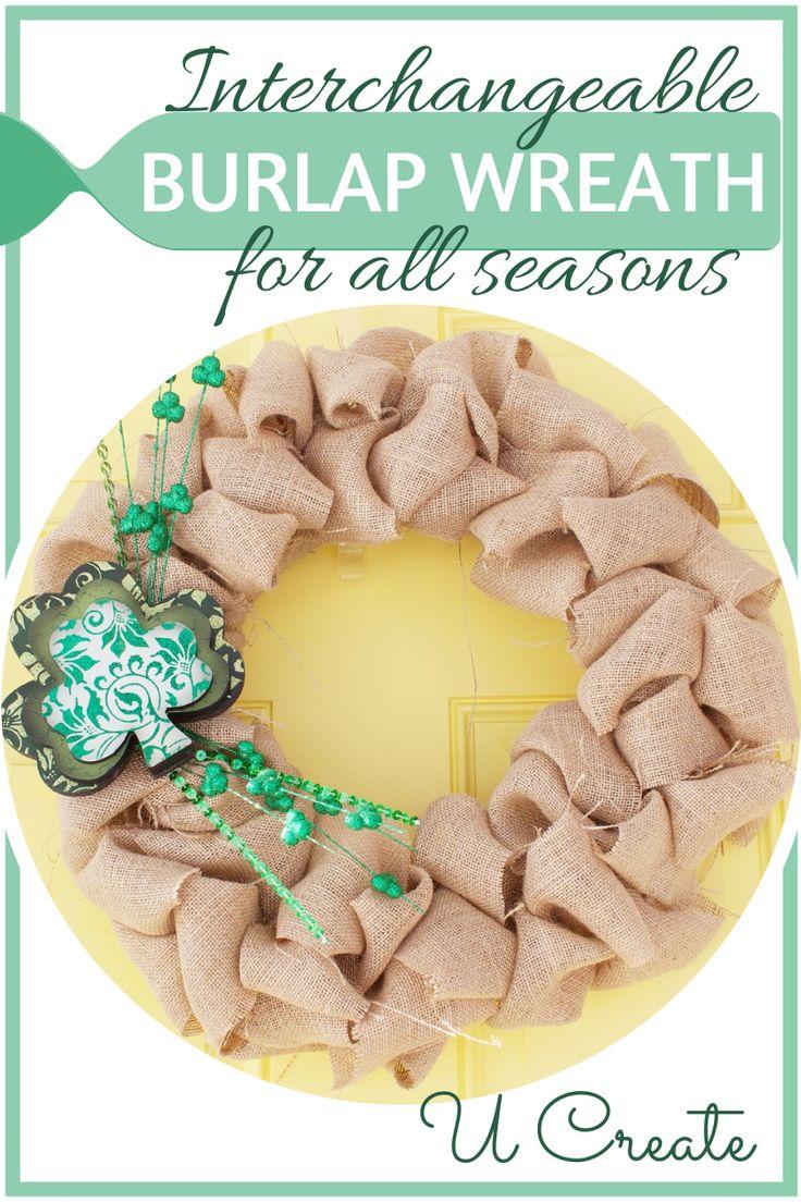 Interchangeable Burlap Wreath by Kellee *want to do soon*