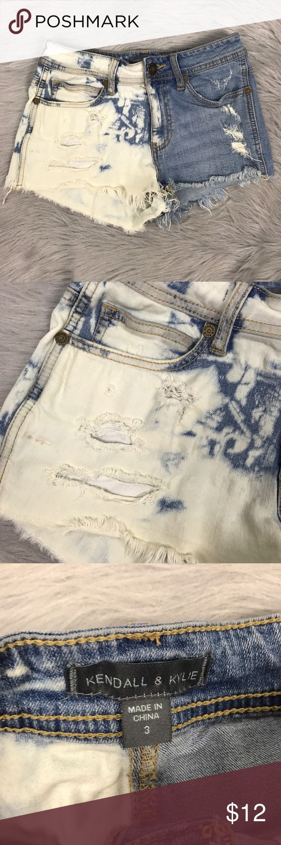 Kendall & Kylie jenner shorts cut off Sz 3 Size 3 Kendall & Kylie shorts! Cut off distressed look! Size 3 - as you can see in photos there is a tiny discoloration on one of the  legs - I have not attempted removal Kendall & Kylie Shorts Jean Shorts