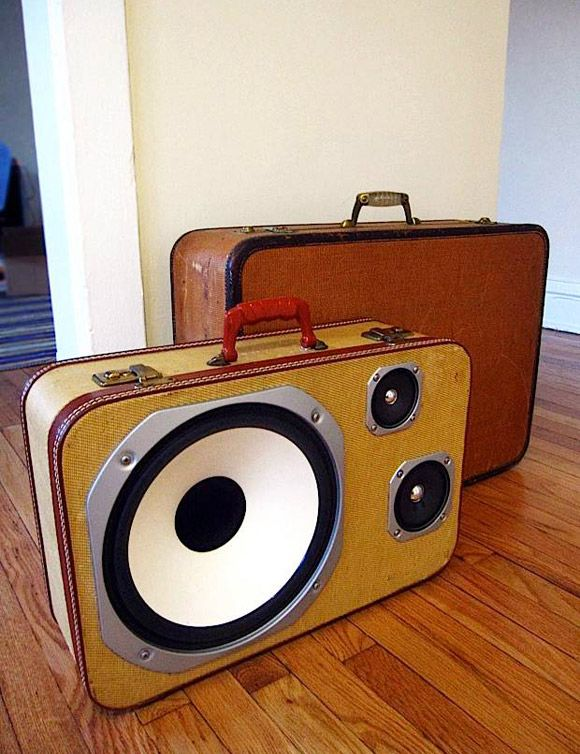 boombox suitcase sounds pretty great (pun) to bad it wouldn't go through airport security too well haha
