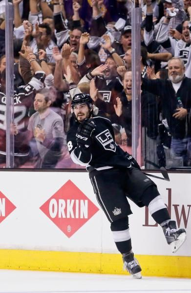 Celebrating a goal Drew Doughty style