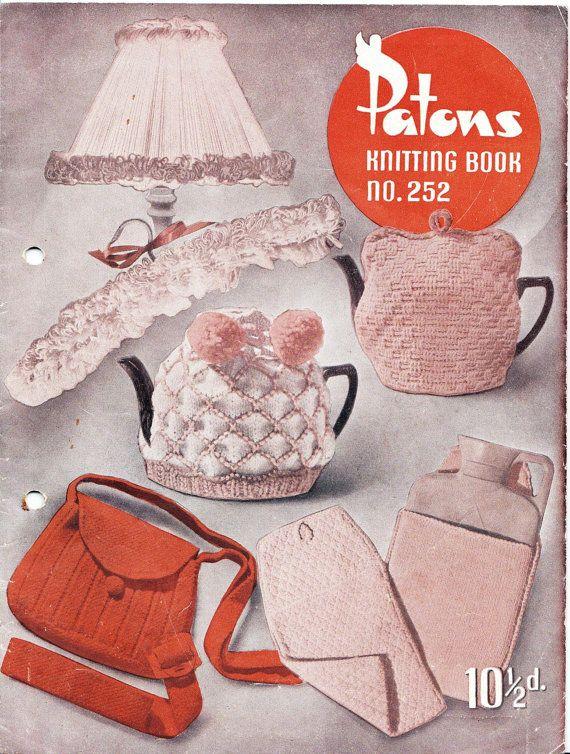Tea Cozies Bags Novelties Patons 252 Vintage Knitting Patterns Book 1950s ORI...