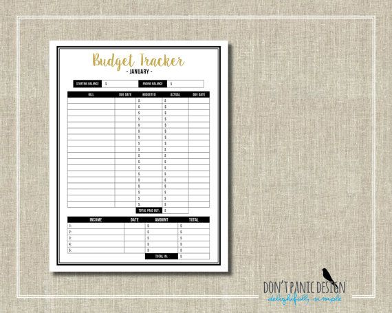 Printable Budget Tracker - Pretty Black and Gold Home Monthly Budget Sheet - 12 Month Budget - Instant Download