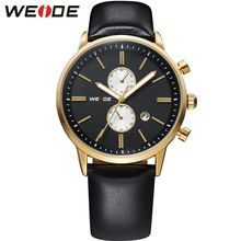 Top Sale! WEIDE Watches Men Military Quartz Sports Watch Luxury Brand Leather Strap Waterproofed Complete Calendar Gold Case(China (Mainland))