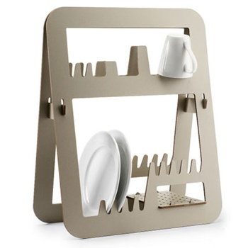 Made from waterproof melamine and wood materials, this graphic dish drainer is by far one of the most stylish kitchen countertop designs. Designed by Ernest Perera