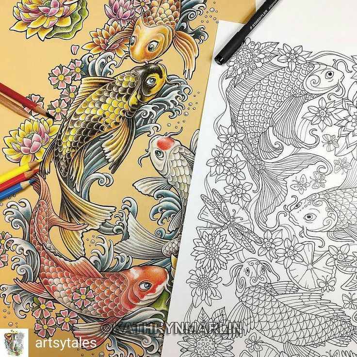 """Repost from @artsytales -  Where do my coloring page ideas come from? The koi page from my """"Garden Paths Forest Trails """" coloring book came from an art piece I did about a year before the book was published. I tried to get a little of a tattoo look to it so it's on flesh-colored Canson Mi-Teintes pastel paper.  @actionpublishing #inspired #design #inspiration #koi #ink #tattooart #pond #adultcoloringbook #coloringforadults #grownupcoloring #adultswhocolor #adultcoloring #antistress…"""