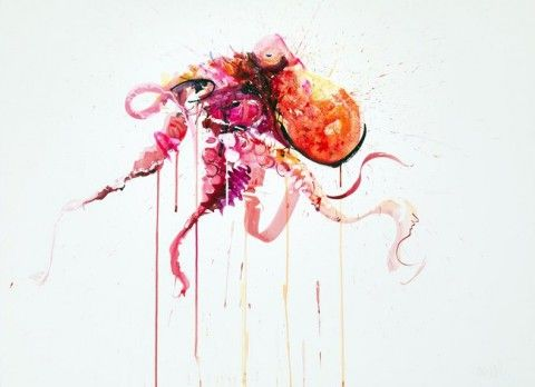 Dave White – Aquatic @ Lawrence Alkin Gallery, London  - Octopus III, 2013 Watercolour on Fabriano Artistico 610gm (76 x 56 cm)