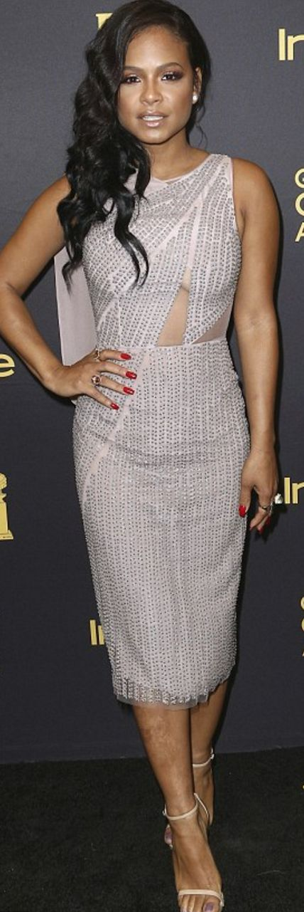 Who made Christina Milian's sequin dress and nude sandals?