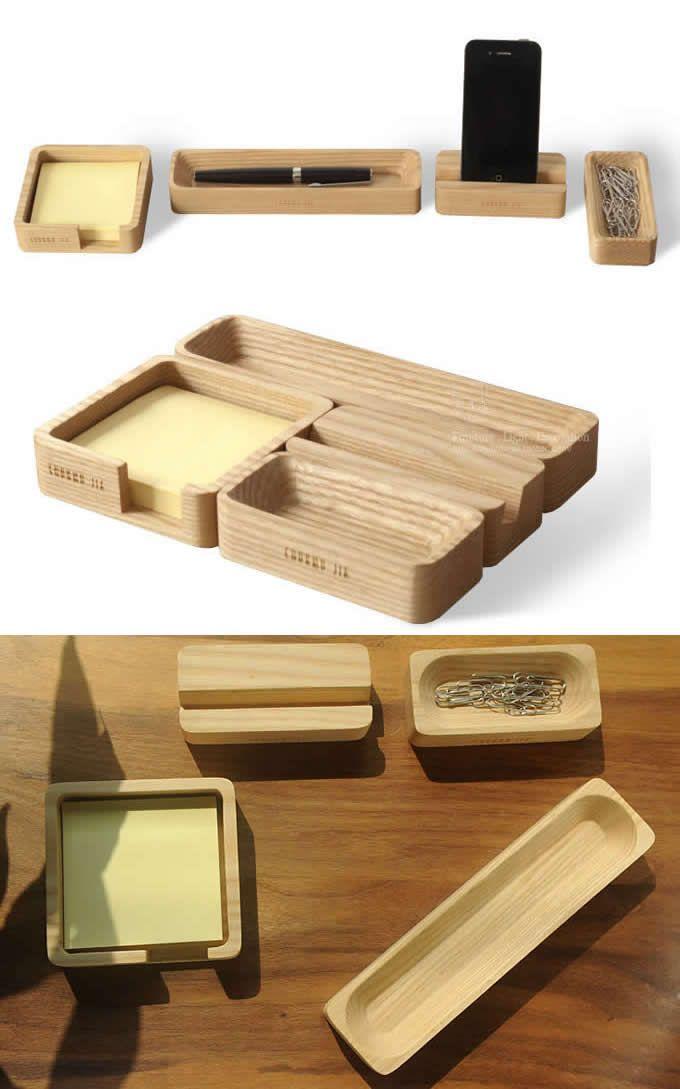 Wooden smart phone stand desktop organizer set 4 piece - Accesorios oficina ...