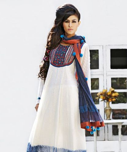 A vibrant and regal collection of dresses  kalidar suits and tunics that's absolutely feminine  elegant  sophisticated and has a timeless appeal. Get set to dictate fashion!This creation is Made To Order.Design Highlights: White mull self block printed kalidar with embroidered yoke  churidar n dupattaPinnacle by Shruti Sancheti was launched in December  2009. Shruti Sancheti is a designer who understands the importance of the vanishing tradition of hand-woven fabrics. Here's presenting to…