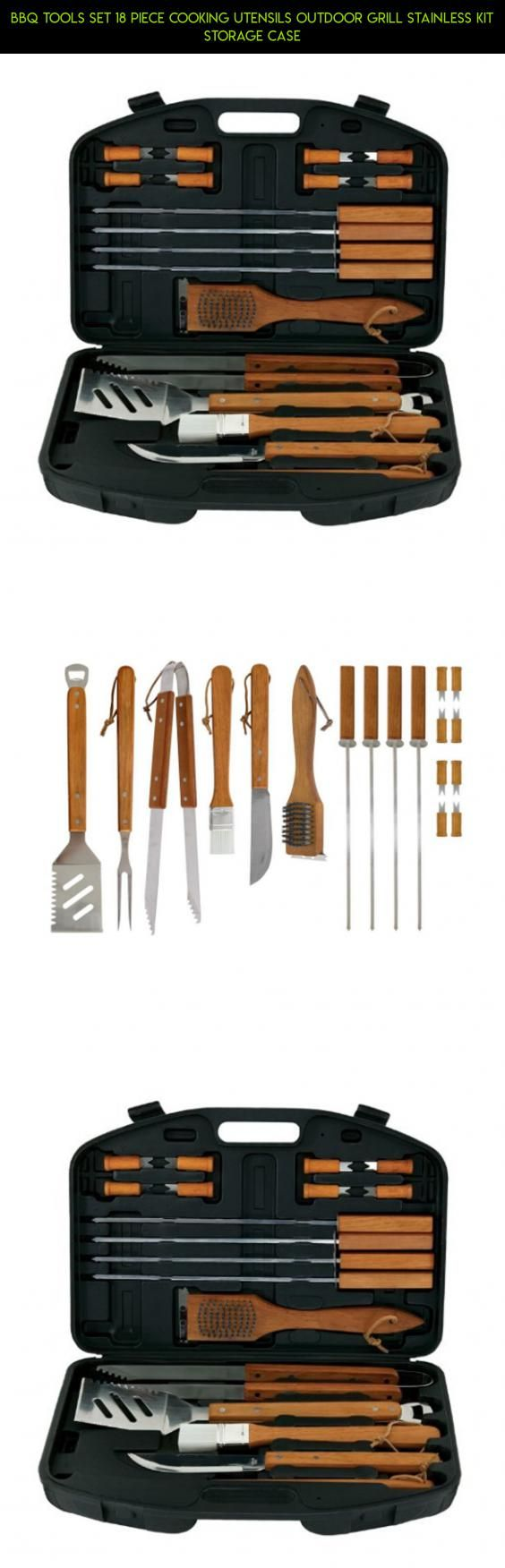 BBQ Tools Set 18 Piece Cooking Utensils Outdoor Grill Stainless Kit Storage Case #tech #outdoor #plans #drone #camera #storage #cooking #technology #gadgets #shopping #utensils #racing #fpv #parts #kit #products