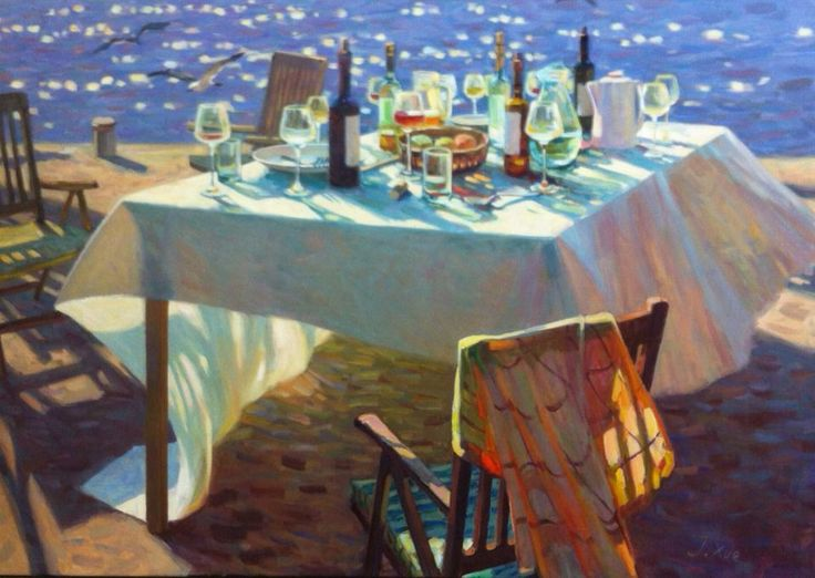 """I love and admire this """"Abandoned Table"""" , oil-painted by my teacher Juane Hui Xue at Amersfoort in the Netherlands, 2016. """"Color is my greatest wealth"""" is the title of her last book. Her second name 'Hui' means 'sunshine'. Look at the painting and feel the almost touchable light in the late afternoon"""