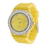 Geneva Platinum CZ Accented Silicone Link Watch, Large Face