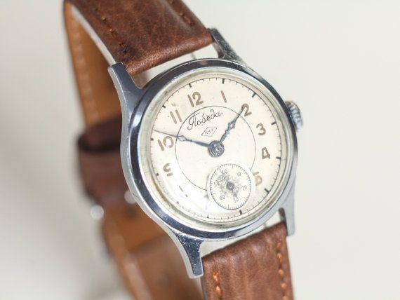 Mid century watch Pobeda  vintage watch mens  by somesoviet