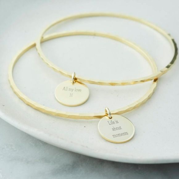 An elegant slim band designed with a textured finish. Personalise yours with your favourite life quote.  Simple, stylish, special.  Wear alone or stacked with similar pieces.  Do you love the feeling of receiving something special? We do. That's why we create gifts you love to give, moments you love to share.  Create your gift. Choose your card. Share your moment.  Choose from silver, gold or rose gold.  Life Quote suggestions: To the moon and back Breathing dreams like air Leave a little…