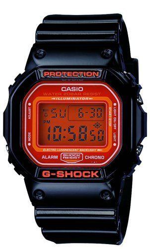 Casio Men's DW5600CS-1 G-Shock Tough Culture Limited Edition Watch Casio. $79.99. Quartz movement. Water-resistant to 330 feet (100 M). Resin case; Orange dial; Day-date-and-month functions. Protective Mineral crystal protects watch from scratches. Case diameter: 40.1 mm. Save 10% Off!