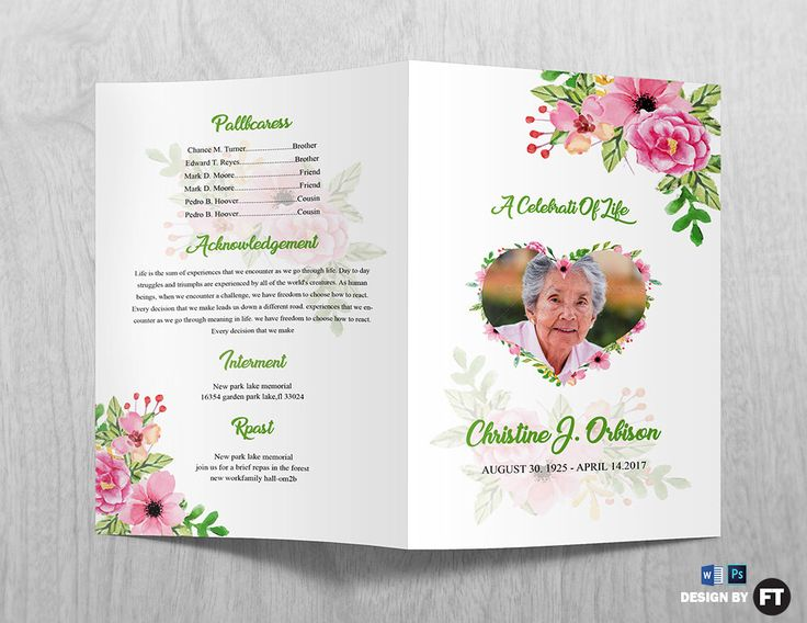 Funeral Program Template | Printable Funeral Program | Memorial Obituary Template | Microsoft Word and Photoshop Template | Instant Download by FuneralTemplate on Etsy https://www.etsy.com/listing/525873420/funeral-program-template-printable