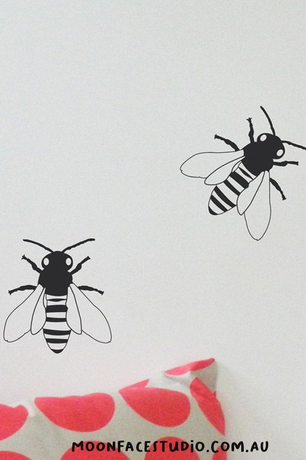 Busy Bees Wall Stickers. These come in a pack of 4. Easy to apply to the walls or windows of your bedrooms, playrooms, living room, kinder or child care.  #bees #wallsticker