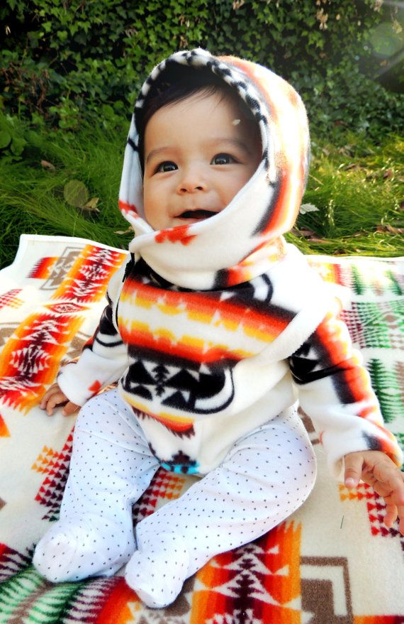 Adorable baby fleece jacket with tribal print! Too cute!