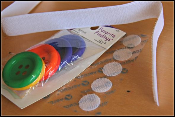 Visual tracking activity with buttons and velcro