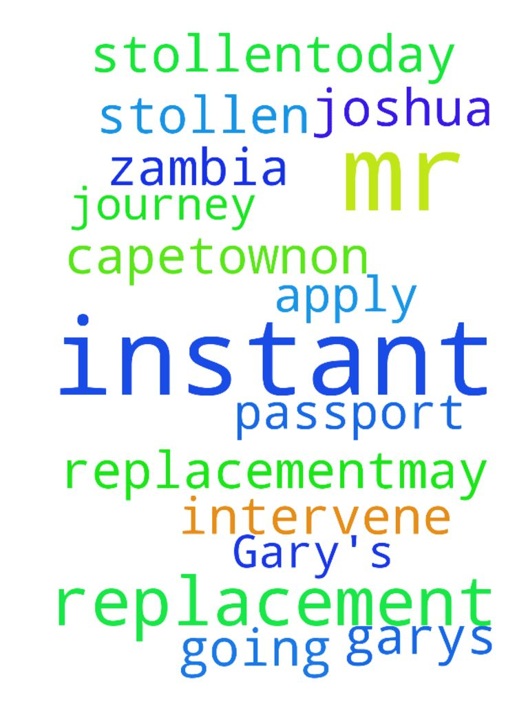 Instant replacement of Mr Gary's - Instant replacement of Mr Garys stollen passport, Capetown.On a journey to Zambia but all was stollen.Today going to apply for replacement,may the God of T B Joshua intervene in Jesus name. Posted at: https://prayerrequest.com/t/QzD #pray #prayer #request #prayerrequest