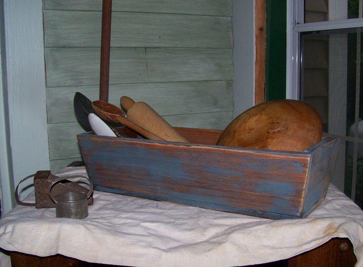 Primitive painted wood box slanted sides and aged worn style   eBay
