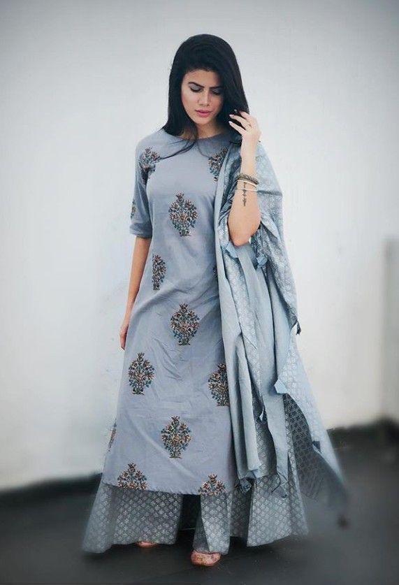 Beautiful Hand Block Print Kurta Designs Women Indian Designer Suits Fashion Attire