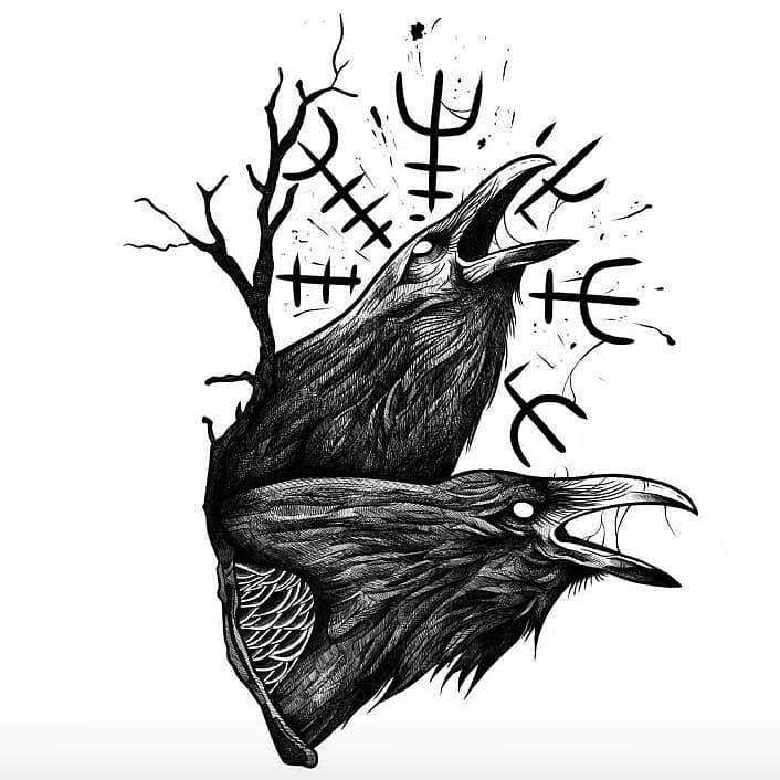 60 Odins Ravens Tattoo Designs Fur Manner 14