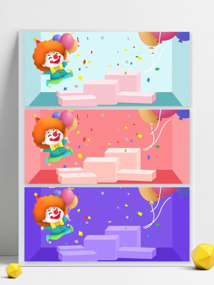 Cute Poster Background Template Balloon Cartoon Fools Day Vector Follyday