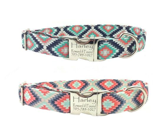 Southwest Inspired - Personalized Laser Engraved Nickel Finish Metal Buckle Dog Collar-Choose from 2 Patterns! *2-3 Week Ship Time*