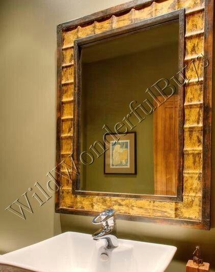 Mediterranean Wall Mirror Wood Rectangle Beveled Gold Large Tuscan Moroccan #Mediterranean