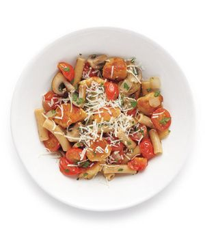 Pasta with chicken and mushrooms. 1/2 lb whole-grain pasta, 2 TB ...