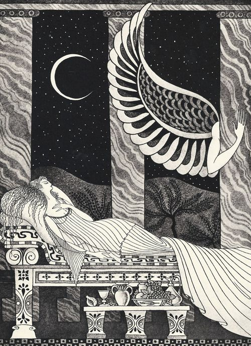 enchantingimagery: Then came her unknown husband and lay with her A gorgeous illustration for Cupid and Psyche by the exceptional Errol Le Cain.