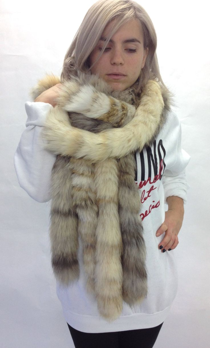Real beige and yellow fox fur scarves , wrap, collar pelt . by BeFur on Etsy