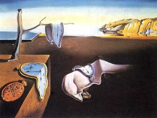 When asked if his drooping clocks were inspired by Einstein's theory of relativity, Dalí declined, saying they were inspired by Camembert cheese melting in the sun. The theme of this Surrealist masterpiece is time, decay & the subconscious. Ants swarm towards metal as if it were rotting flesh; a sluggish monster in the profile of Dalí snoozes on the floor; and the Catalonian Mountains in the background blur the division between objective and subjective reality.