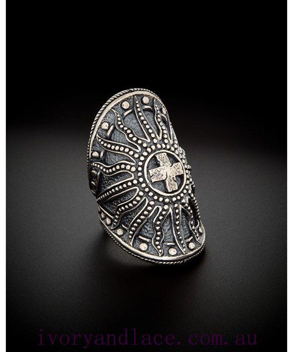 Silver Armour Cross Ring ~ SCOTT KAY