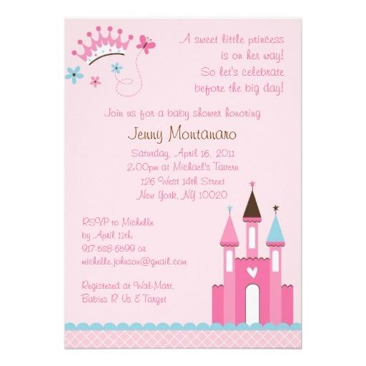 Convites doces do chá de fraldas da princesa bebé