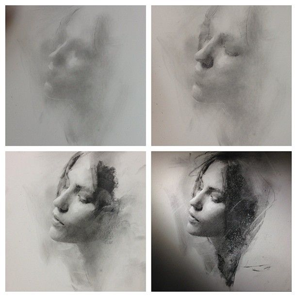 4 stages of charcoal portrait drawing - general to specific approach by Casey Baugh