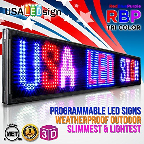 "LED Signs 52"" X 35"" Tri-color Bright Digital Programmable Scrolling Message Display / Business Tools. Customize messages to attract attention and increase sales/business. Made for outdoor usage / 99 messages / Images, Icons, Symbols, Graphics, Videos, pre-programmed in the signs. Signs are UL Listed. UL Standards were made in place to make sure that the products are safe and able to withstand specific conditions (Fire testing, Electrical testing). Limited 3 Year Warranty. Mounting…"