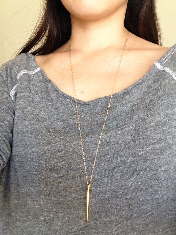 Large Long Gold Spike Necklace by JENNYandJUDE on Etsy