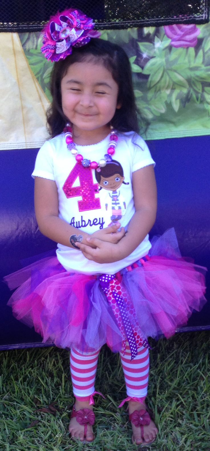 Aubrey's Fourth Birthday Outfit! I made the bow, necklace and tutu! ;))  #docmcstuffins #cute #beautifuldaughters