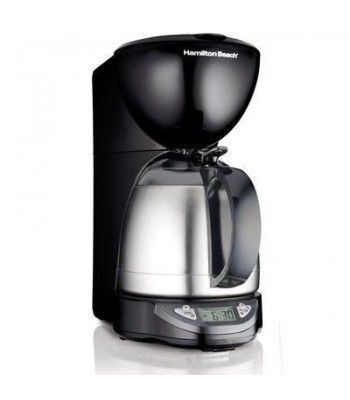 This Hamilton Beach 10-cup Coffeemaker has a thermal insulated carafe and uses 8-12 cup basket style coffee filters. It features a no-twist lid for instant serving--just press and pour--, programmable timer, drip-free pouring, pause & serve, automatic shutoff and large clock display. Makes iced coffee too.
