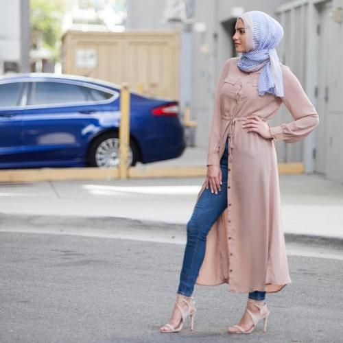 Long blush open dress hijab-Street fashion style – Just Trendy Girls