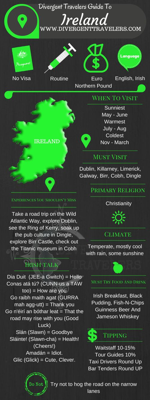 Divergent Travelers Travel Guide, With Tips And Hints To Ireland. This is your ultimate travel cheat sheet to Ireland. Click to see our full Ireland Travel Guide from the Divergent Travelers Adventure Travel Blog and also read about all of the different adventures you can have in Ireland at http://www.divergenttravelers.com/destinations/ireland-2/