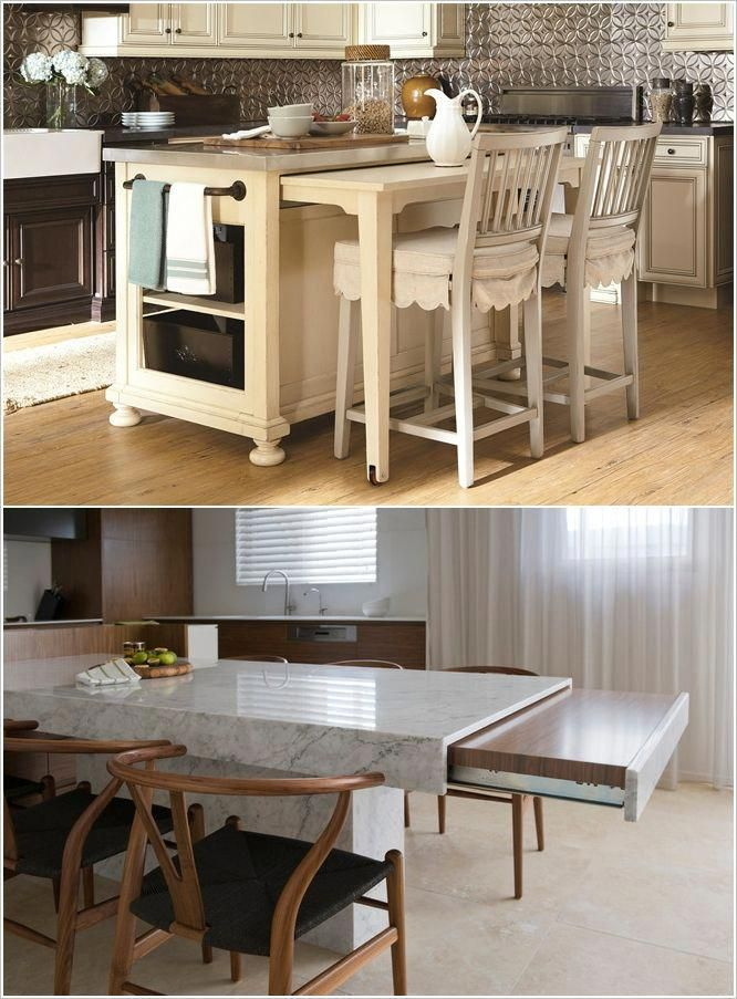 Clever Design Idea A Kitchen Island With A Pull Out Table Or Workstation Kitchen Hacks Design Kitchen Island Hack Mobile Kitchen Island