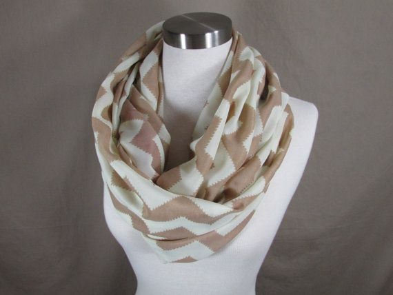 Infinity Scarf in Tan and White Chevron Print Handmade Lightweight Scarf Spring Scarf Summer Scarves