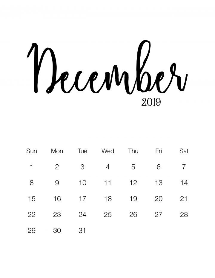Fabulous and Free Printable 2019 Minimalistic Calendar PinTheresse