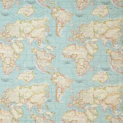 approvisionnement mondial carte tissu - carte - mondial tissus - tissu bleu - half yard - yardage - tissu bleu glacier - menthe - artisanat
