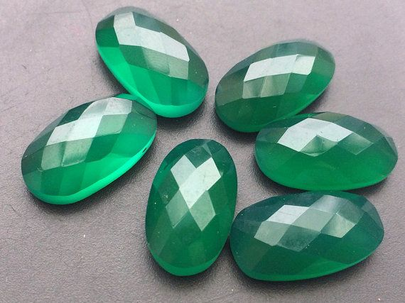 Green Chalcedony Oval Green Flat Back Cabochons by gemsforjewels