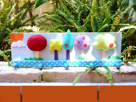 Colorful Felt Trees Clothes rack by FabLabCrafts on Etsy
