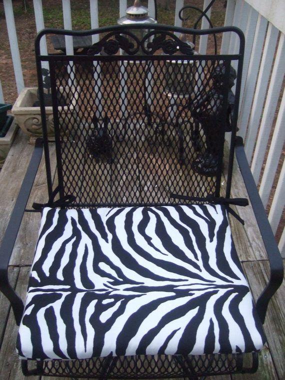Beautiful Indoor / Outdoor Black U0026 White Zebra Animal Print Fabric Patio Chair  Universal Foam Cushion With Ties   Choose Size